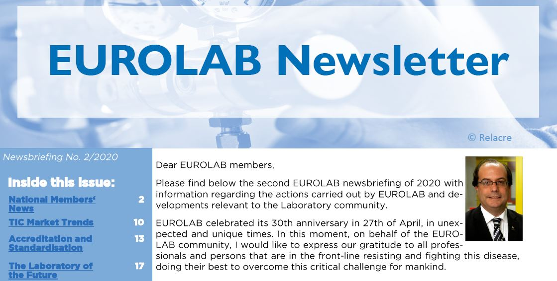 EUROLAB Newsletter No 02/2020 & Message from the EUROLAB Secretariat